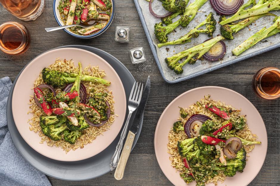 Roasted Broccoli & Onion over Spiced Garlic Rice