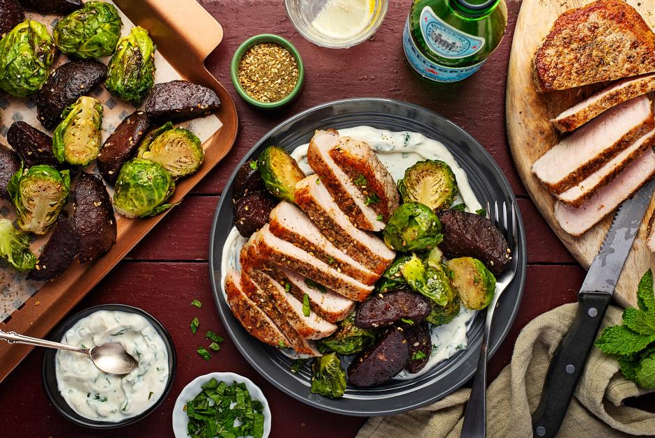 Za'atar Pork Chops over Minty Labneh