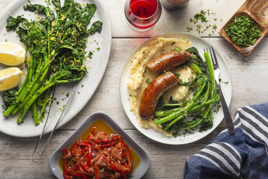 Saucisses de porc à l'italienne et purée de pommes de terre