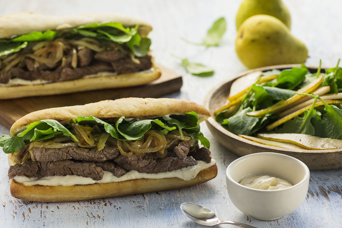 Grilled Steak Sandwiches with Caramelized Onions