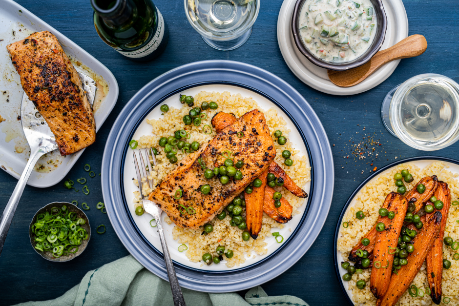 Pan-Seared Salmon with Cucumber-Labneh Dressing