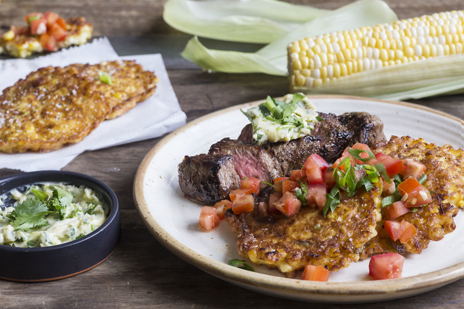 Grilled Steaks with Cilantro-Lime Butter