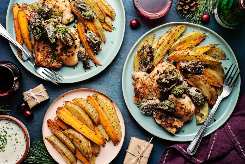 Poulet poivre-citron avec kalettes croustillantes au grana padano