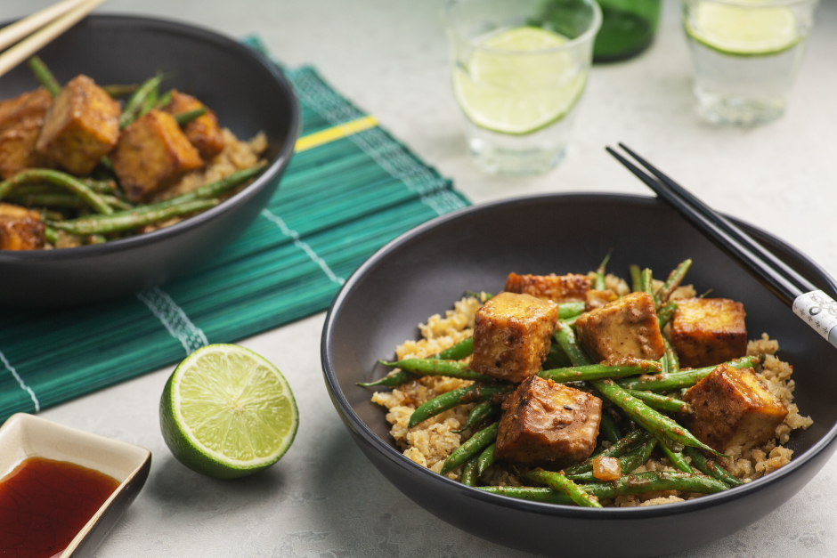 Crispy Almond Butter Tofu & Green Beans
