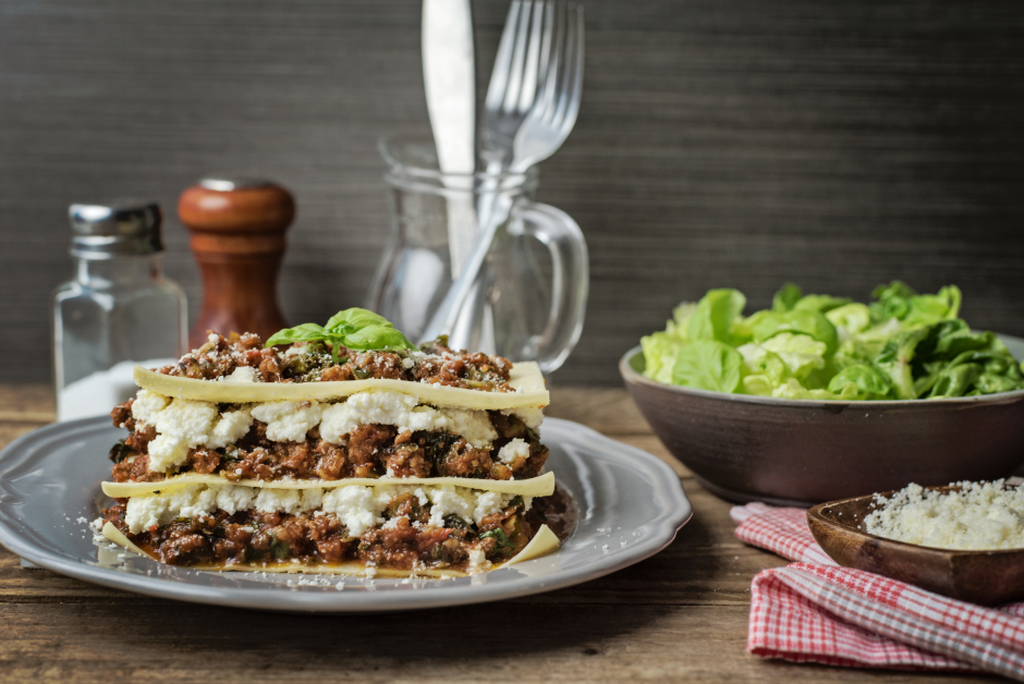 Free-Form Ground Beef Lasagna with Ricotta & Kale