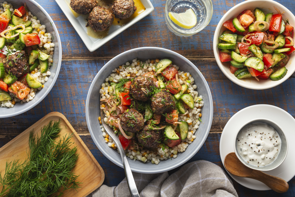 Greek-Style Beef Meatballs with Tomato-Cucumber Salad