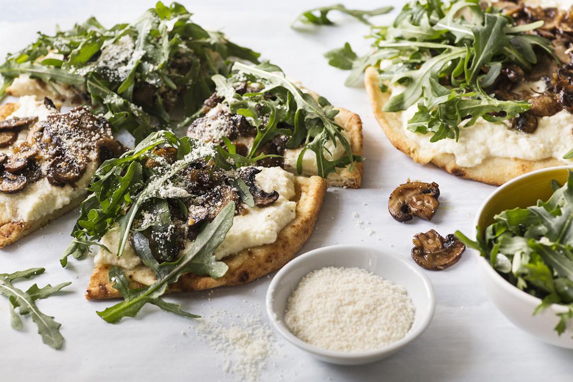 Pains plats aux champignons cremini & à la ricotta