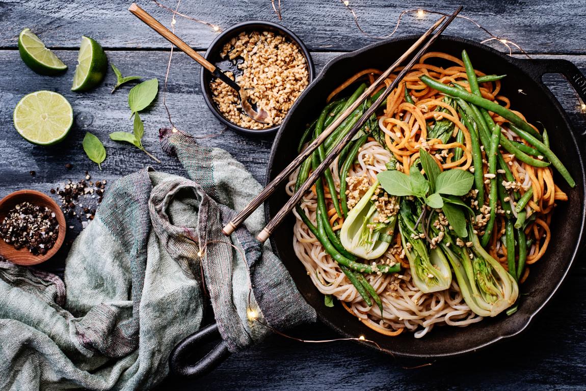 "Shanghai Noodle ""Japchae"" with Garlic Peanuts"