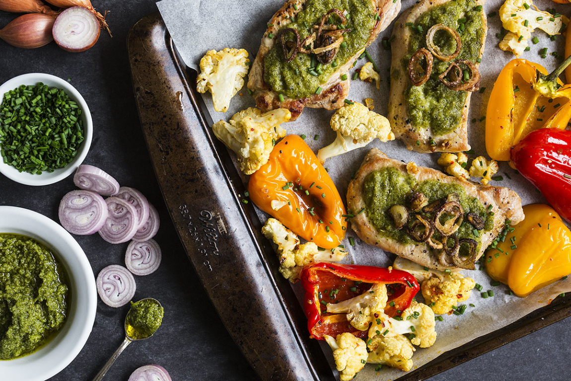 Seared Pork Chops with Pesto