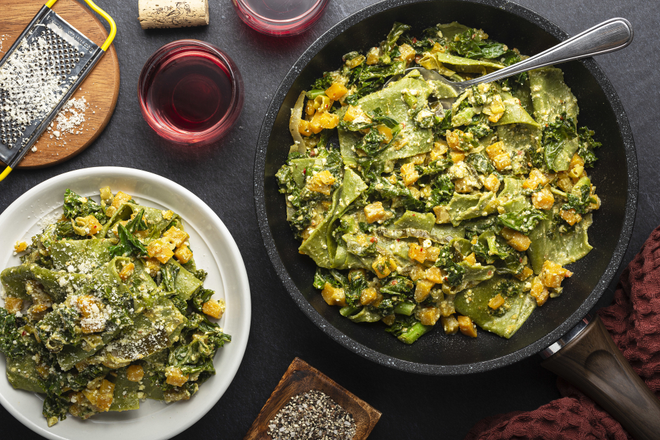 Spinach Lasagna Skillet with Kale & Butternut Squash