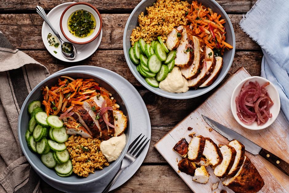 Seared Chicken Shawarma & Bulgur Bowl