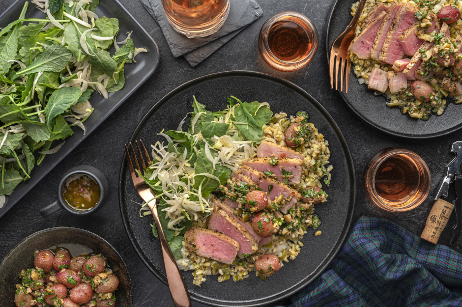 Broiled Tuna Steaks with Grape & Olive Tapenade
