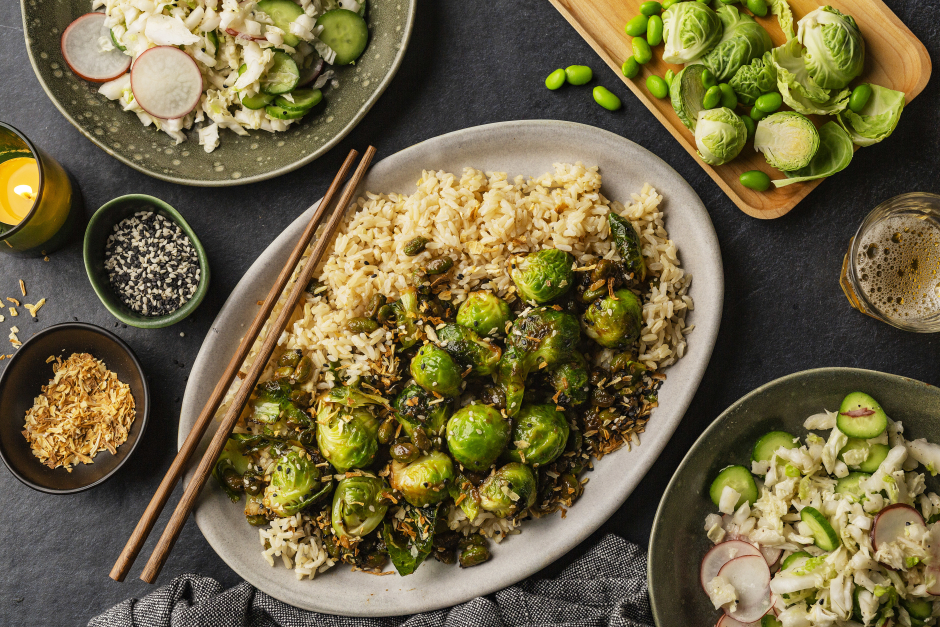 Miso Fried Brussels Sprouts