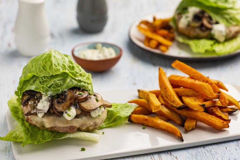 Pork Lettuce Burgers with Sautéed Mushrooms