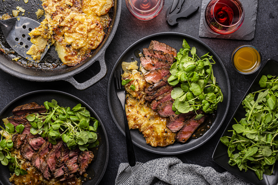 Filets Mignons with Potato & Porcini Gratin