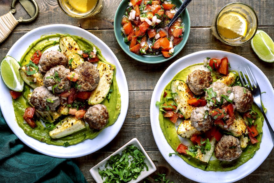 Mexican-Spiced Pork Meatballs with Roasted Zucchini