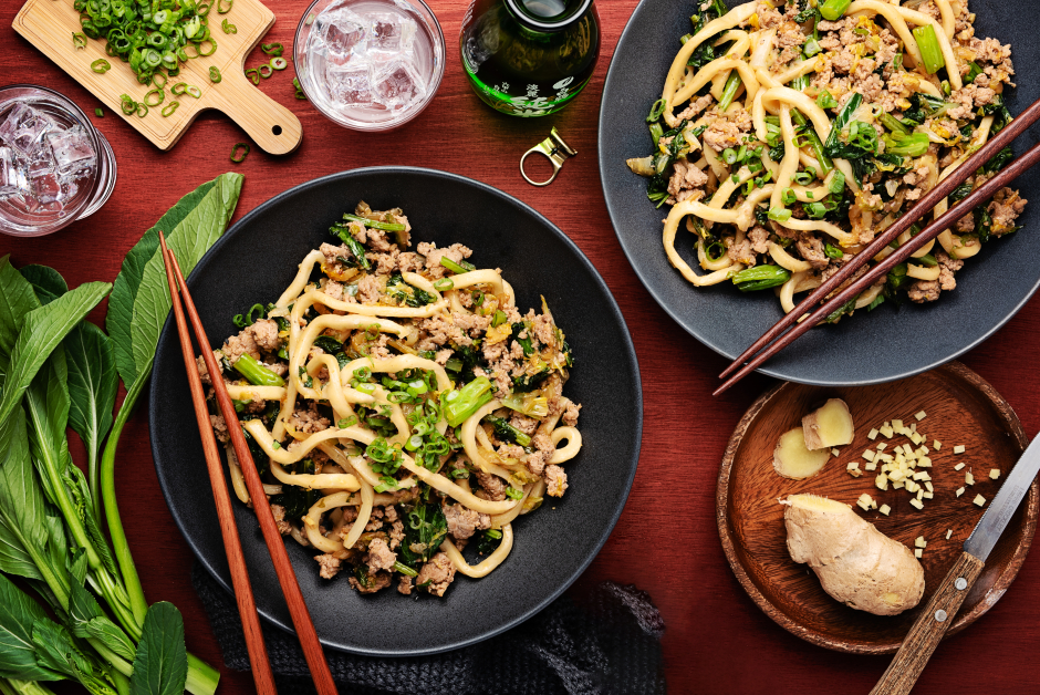 Fresh Udon Noodles with Ground Pork