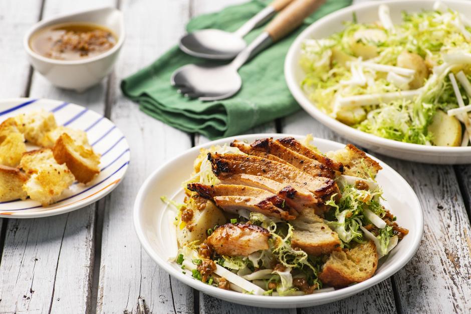 Pork Chop Lyonnaise Salad