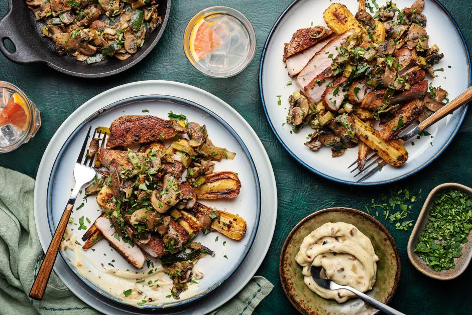 Mushroom-Leek Pork Chops