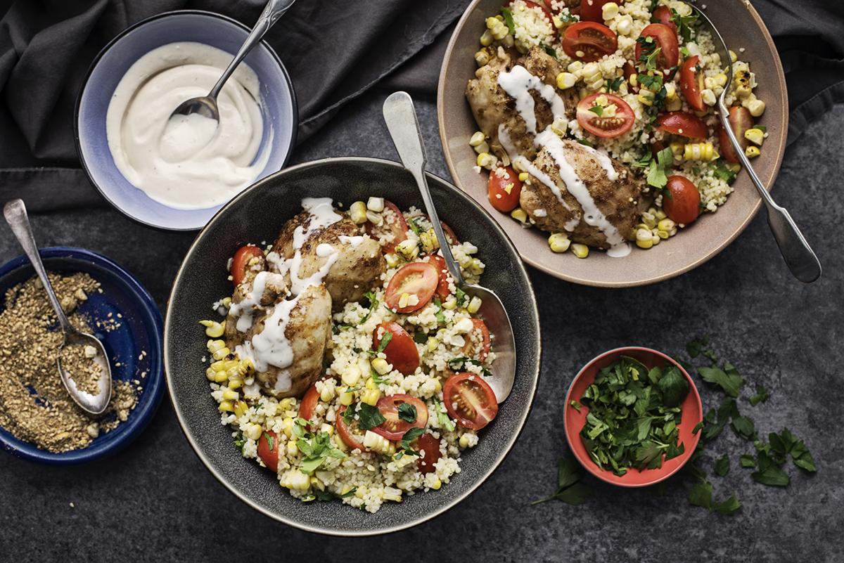 Dukkah Chicken with Corn-Tomato Couscous