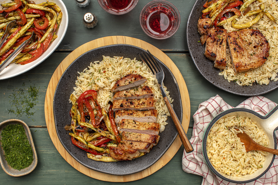 Pan-Seared Pork Chops over Spiced Rice