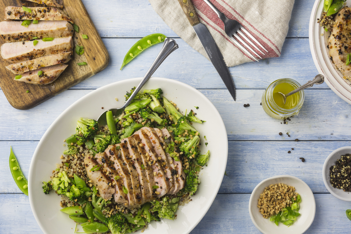 Grilled Pork Chops with Charred Broccoli-Quinoa Salad