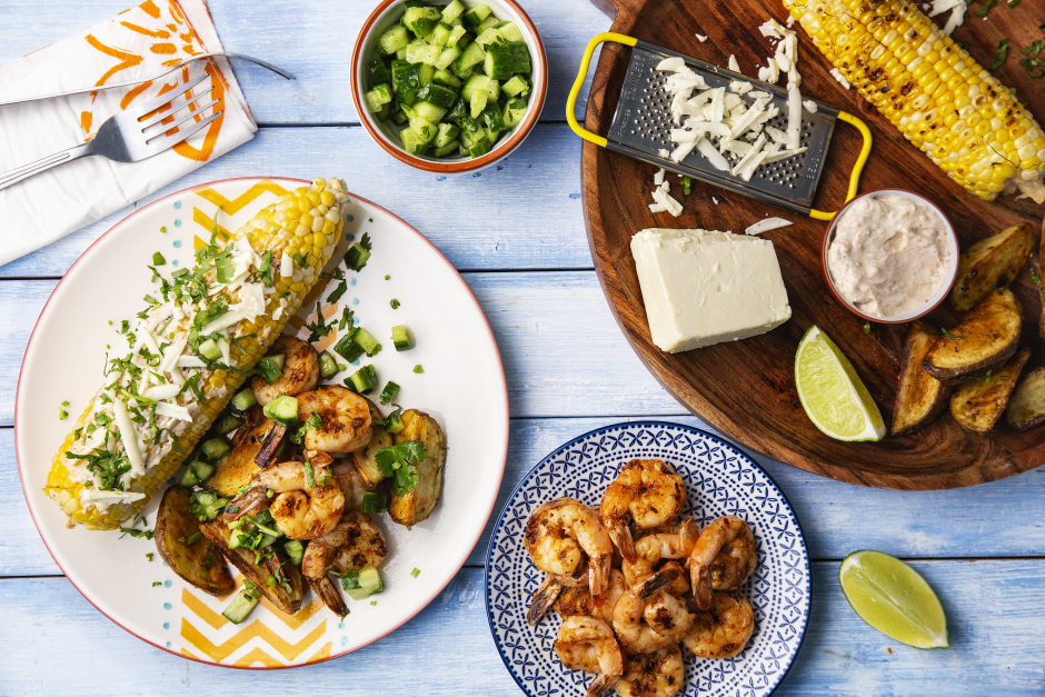 Smoky Shrimp with Mexican Elote