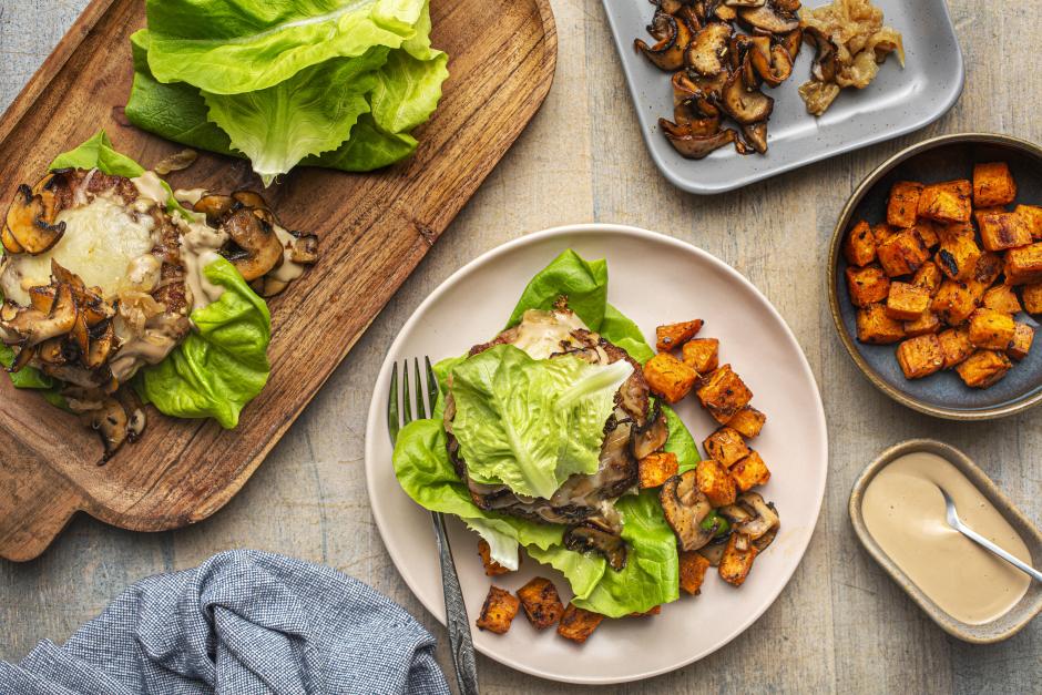 Pork & Caramelized Onion Lettuce Burgers