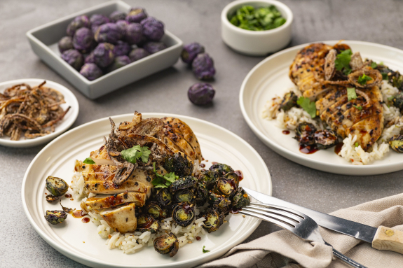 Chicken Breasts with Roasted Purple Brussels Sprouts