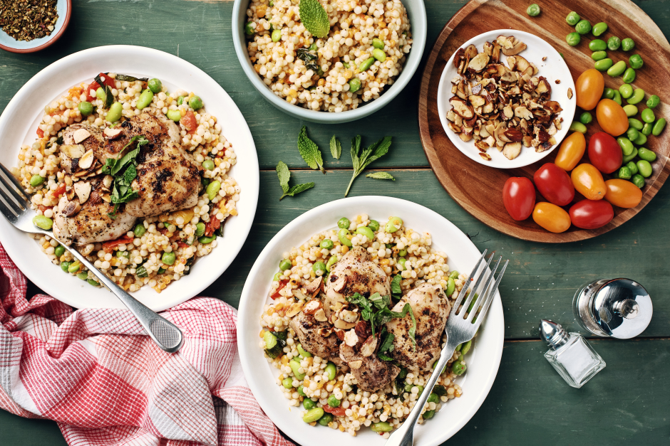 Chicken Thighs over Cherry Tomato Pearl Couscous