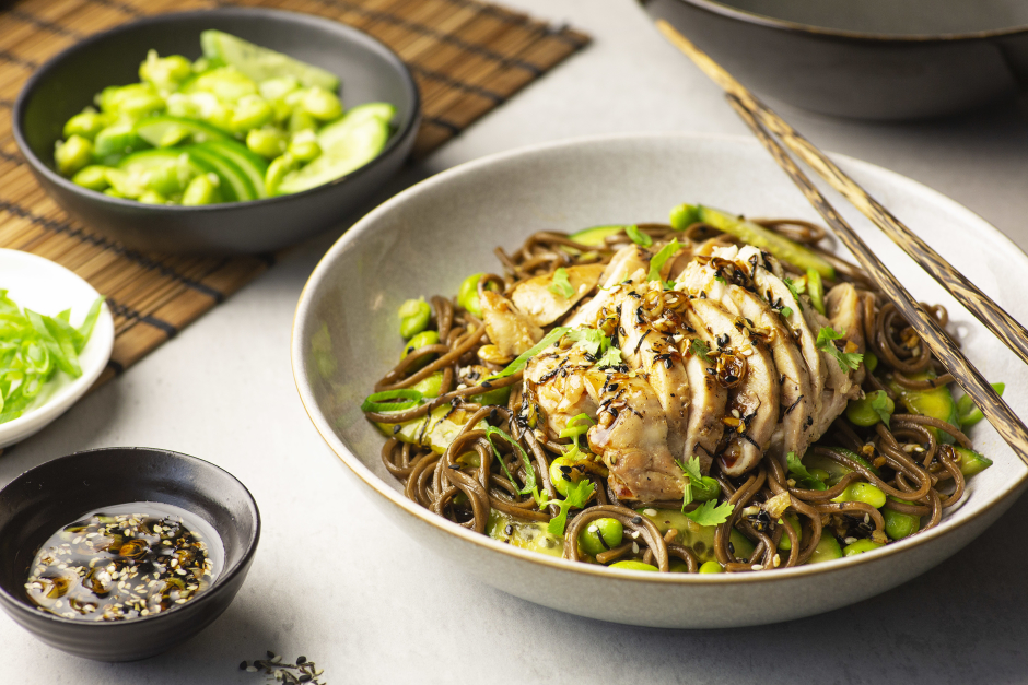 Sichuan Chicken Salad with Chilled Soba Noodles