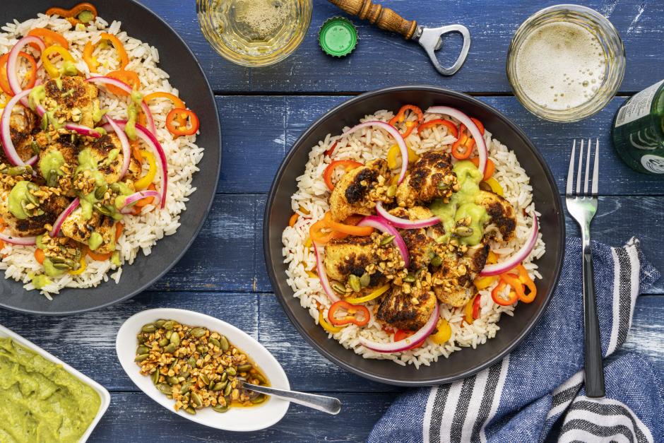 Salsa Macha Topped Cauliflower & Rice Bowls