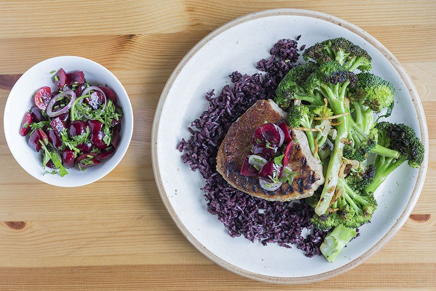 Grilled Pork Chops with Fresh Cherry Salsa - Black Rice ...
