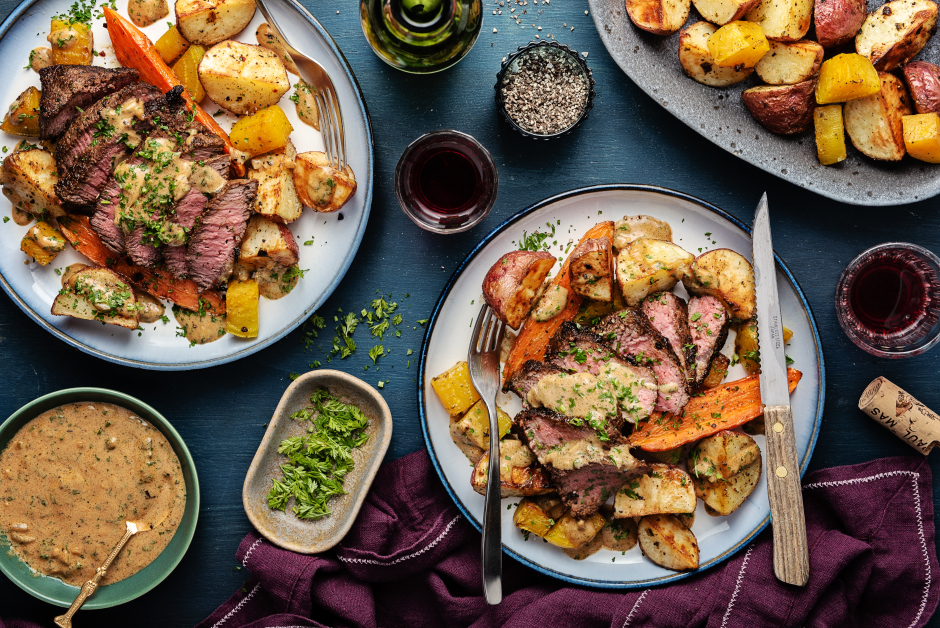 Seared Sirloin Steaks with Dijon Cornichons Pan Sauce