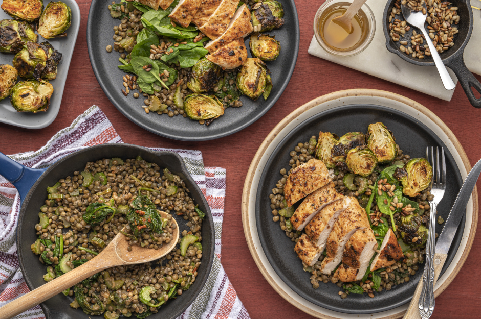 Seared Chicken Breasts & Savoury Puy Lentils