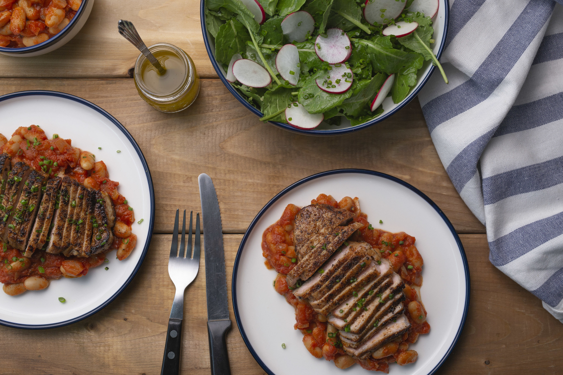 Pork Chops with Maple-Tomato Baked Beans