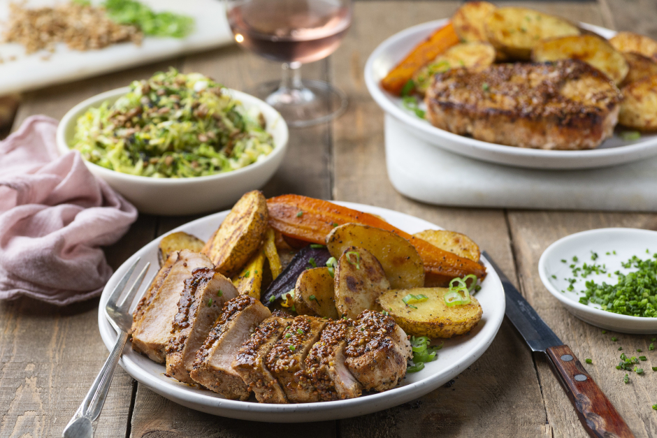 Mustard Pork Chops with Roasted Potatoes
