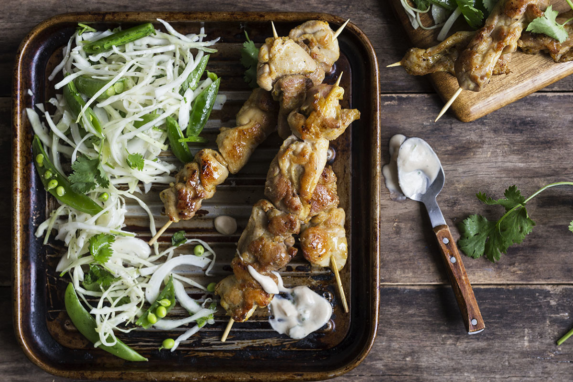 Chicken Satay with Pea, Cabbage Slaw