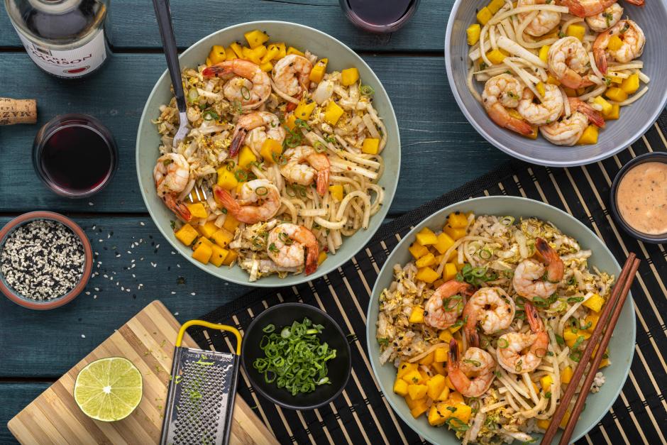Spicy Seared Shrimp & Mango Poke Bowl