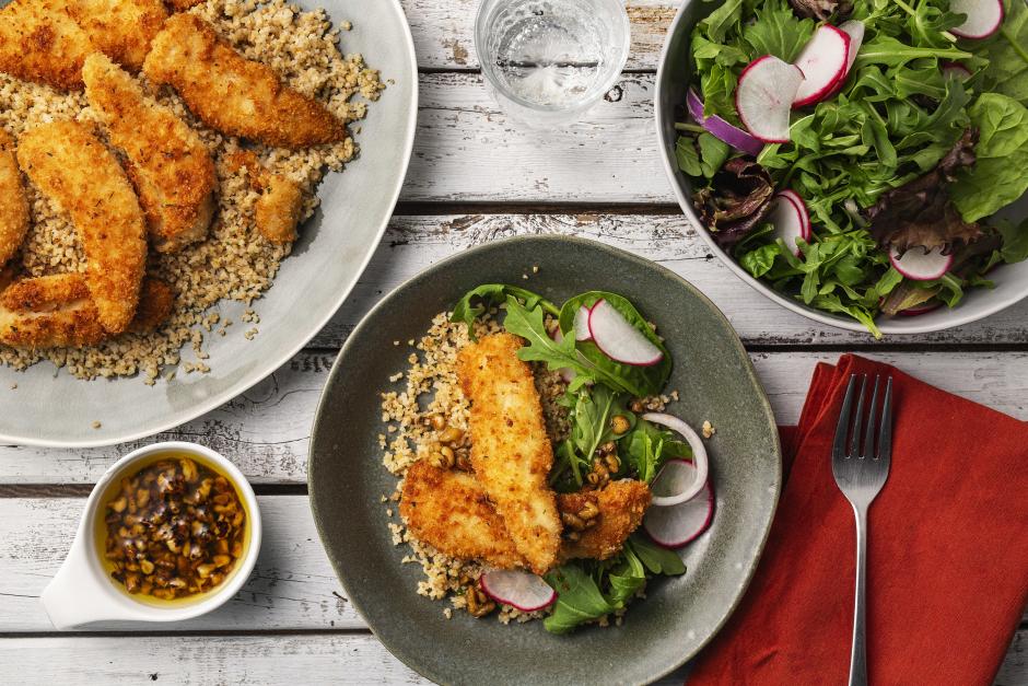 Chicken Schnitzel with Radish Salad