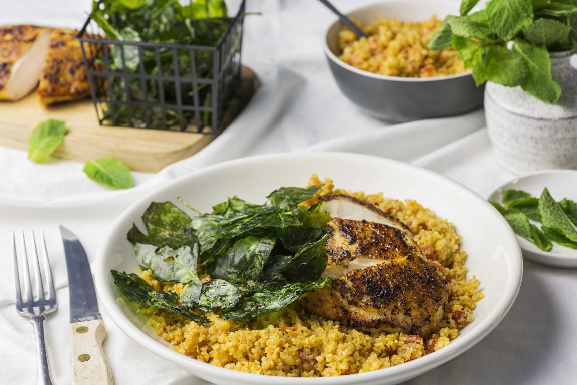 Skin-On Chicken Breasts with Cauliflower Rice Pilaf in Ghee