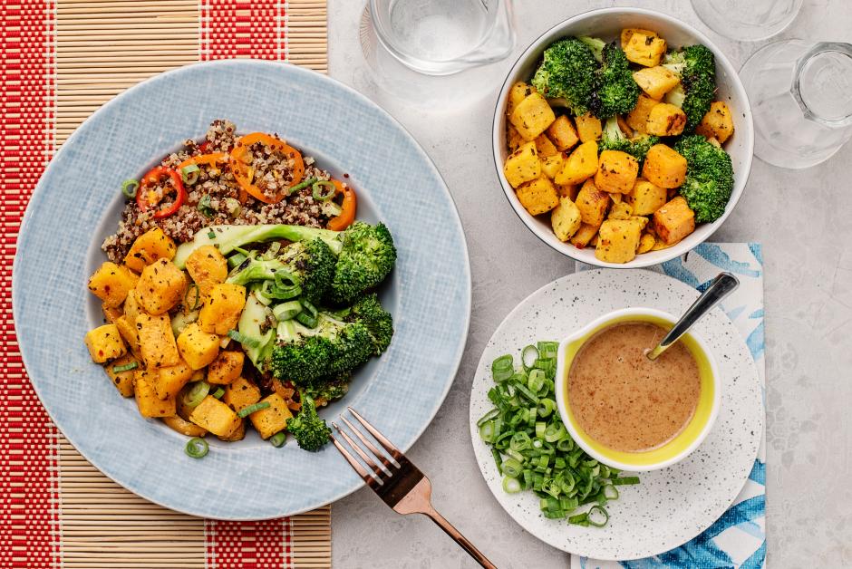 Charred Broccoli & Roasted Butternut Squash over Quinoa