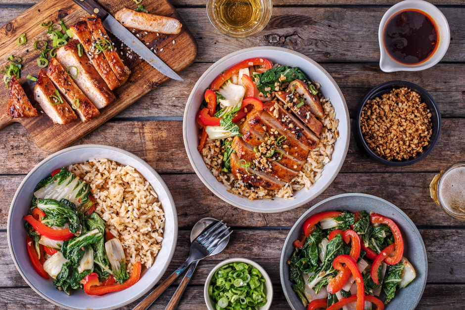 Gochujang Pork Chops over Crispy Sesame Rice