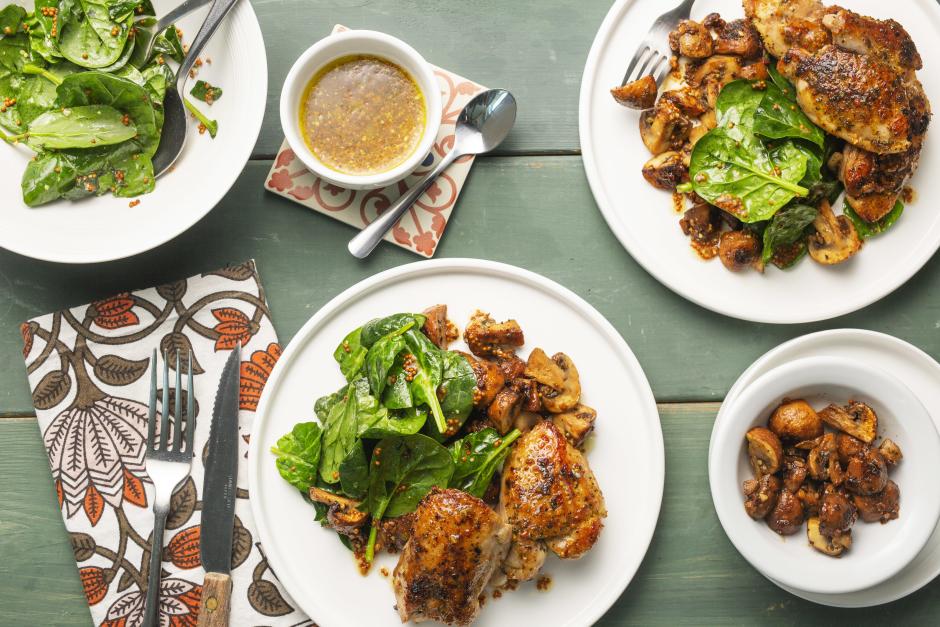 Warm Salad with Chicken, Garlic-Butter Mushrooms & Spinach