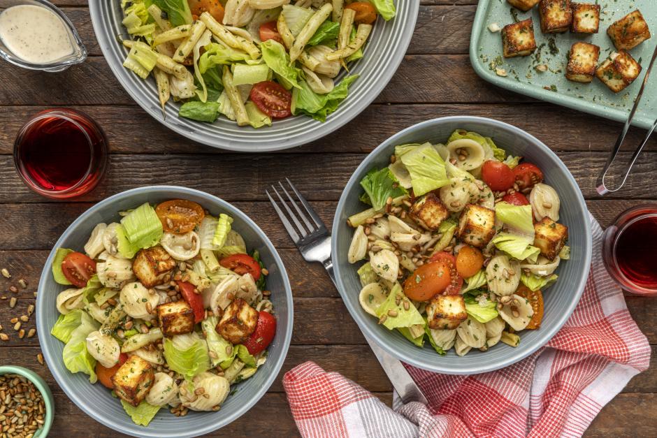 Caesar-Dressed Orecchiette Salad with Warm Halloumi Croutons