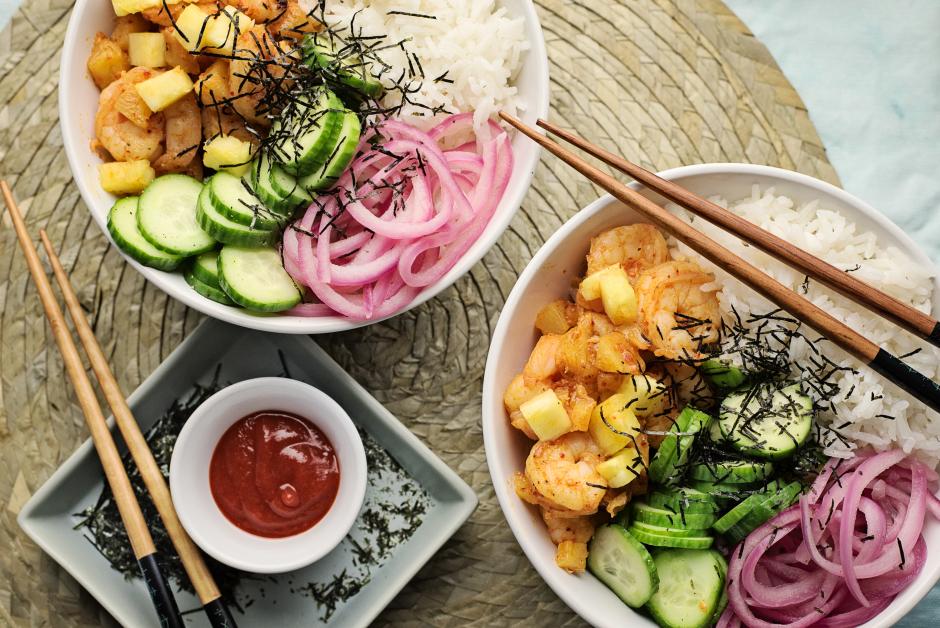 Hawaiian Shrimp Poke Bowls