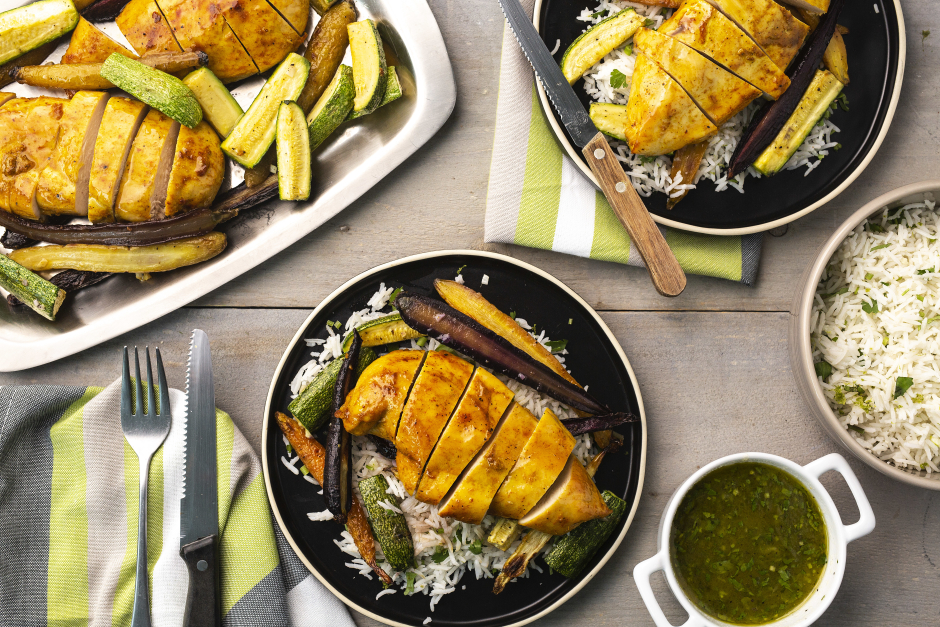 Curried Chicken with Apricot-Cilantro Coulis