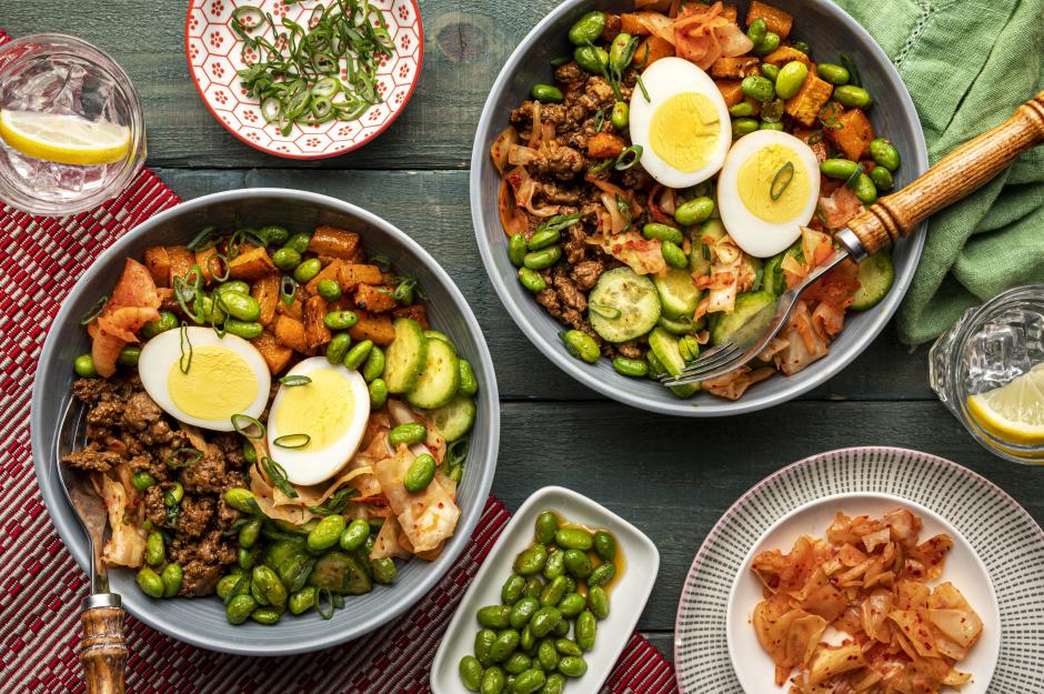 Korean-Spiced Ground Pork & Kimchi Bowls