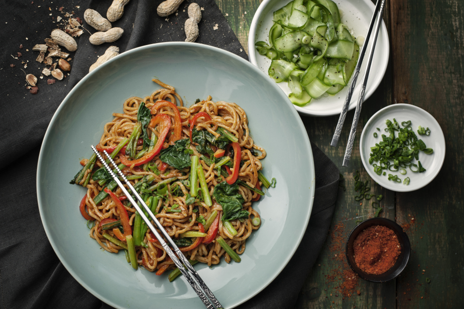 Fresh Shanghai Noodles with Peanut Sauce