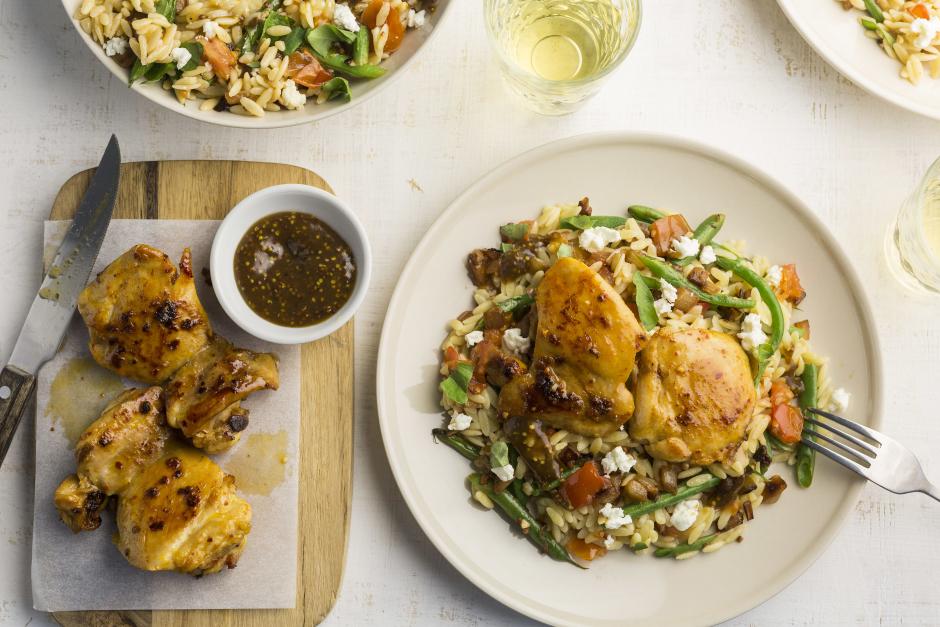 Mediterranean-Style Chicken over Orzo Salad